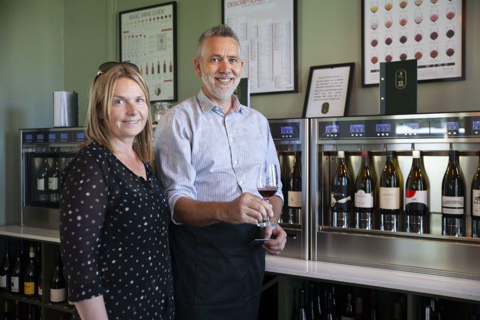 Marty Davis and Sarah Hamilton of The Wine Bank in Martinborough