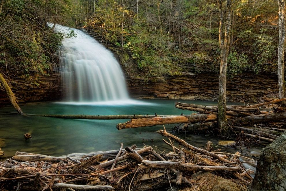 Even at just 35 feet high, Stinging Fork Falls remain quite spectacular