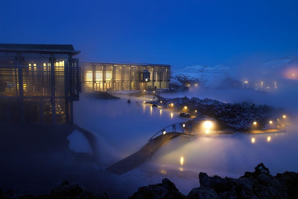Blue Lagoon's thermal pools, seen here at night, are close to Reykjavik and popular with visitors