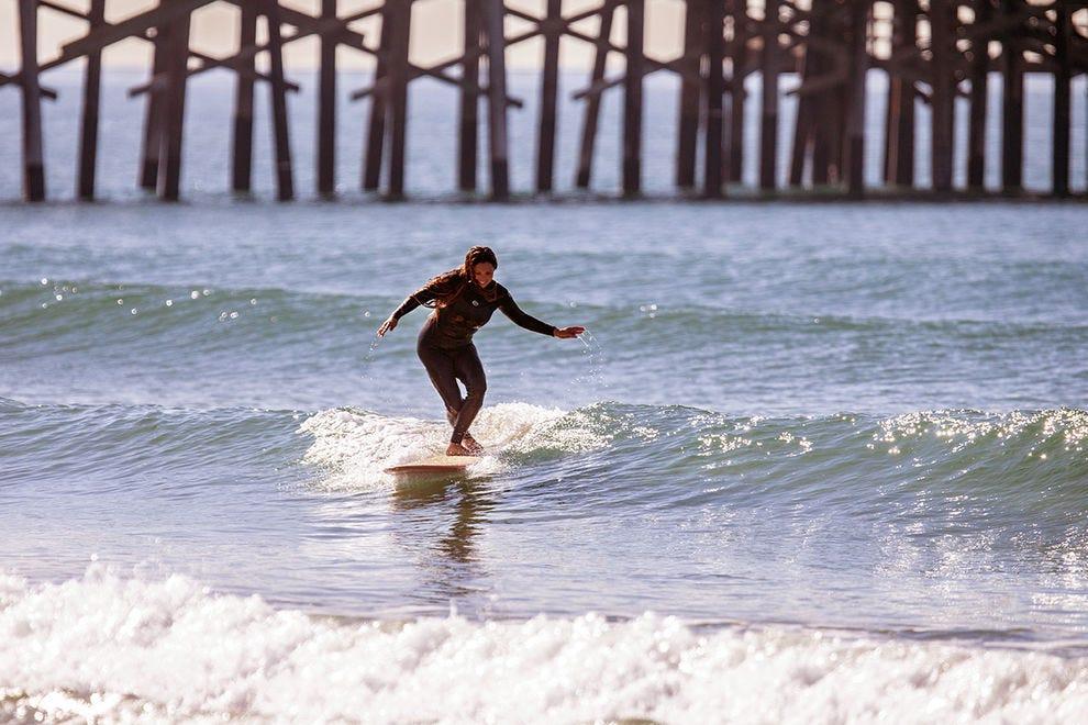 Vanessa Yeager surfing in Newport Beach