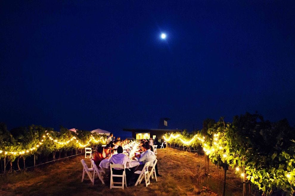 Wine lovers dine under the stars at an Amavi Cellars event in Walla Walla