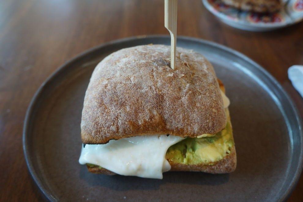 Try Pleasantry's brunch breakfast sandwich