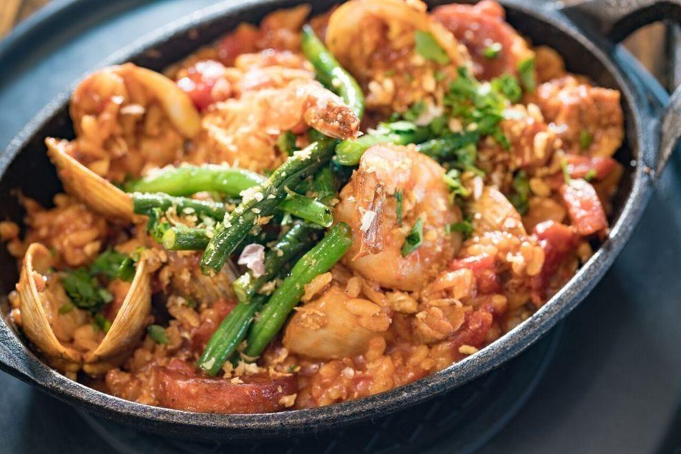 Paella featuring Portuguese sausage, Kauai shrimp and saffron spice