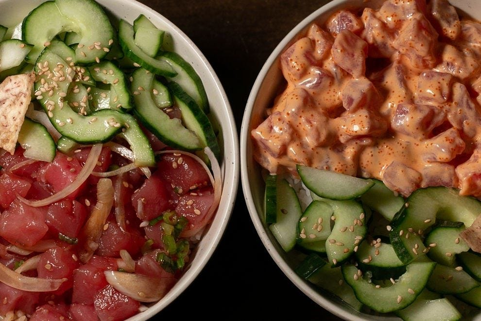 Poke is a Hawaiian dish with cubed raw fish served over rice