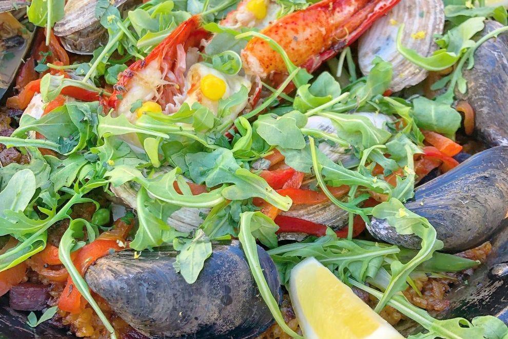 Lobster paella at La Orilla Tapas