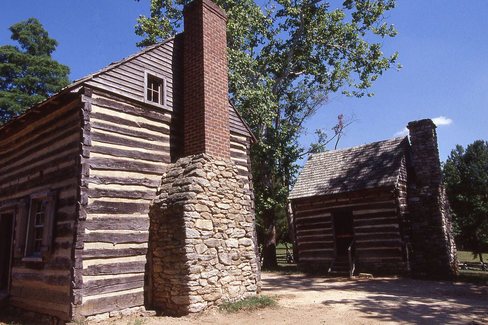 The Hoskins farmstead, the historic restored log cabins, served as a staging area for the British troops during the Battle of Guilford Courthouse
