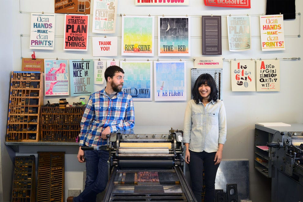 Printmakers Kyle Van Horn and Kim Bentley teach their skills in monthly workshops