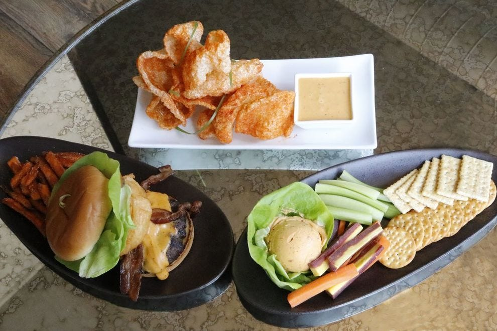 Loma's pork rinds, beer cheese burger and beer cheese platter