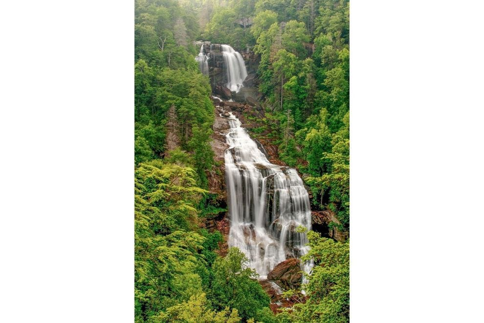 Whitewater Falls is one of the highest waterfalls east of the Rockies