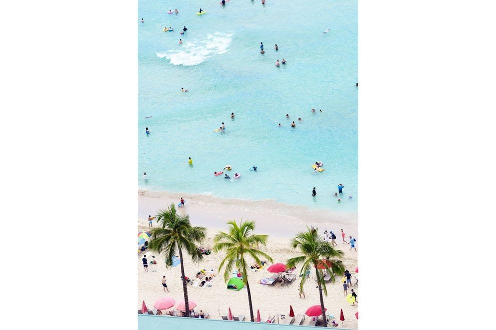 A view of Waikiki Beach from above