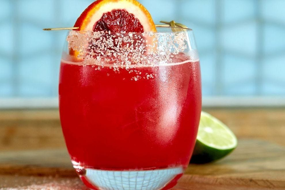 This bright red cocktail is sure to turn heads