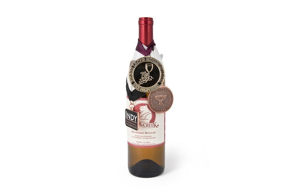 Try Bear Creek's award-winning strawberry rhubarb wine