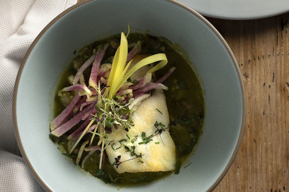 Chef Peter O'Brien gives traditional dishes new spins, as with this sea bass posole