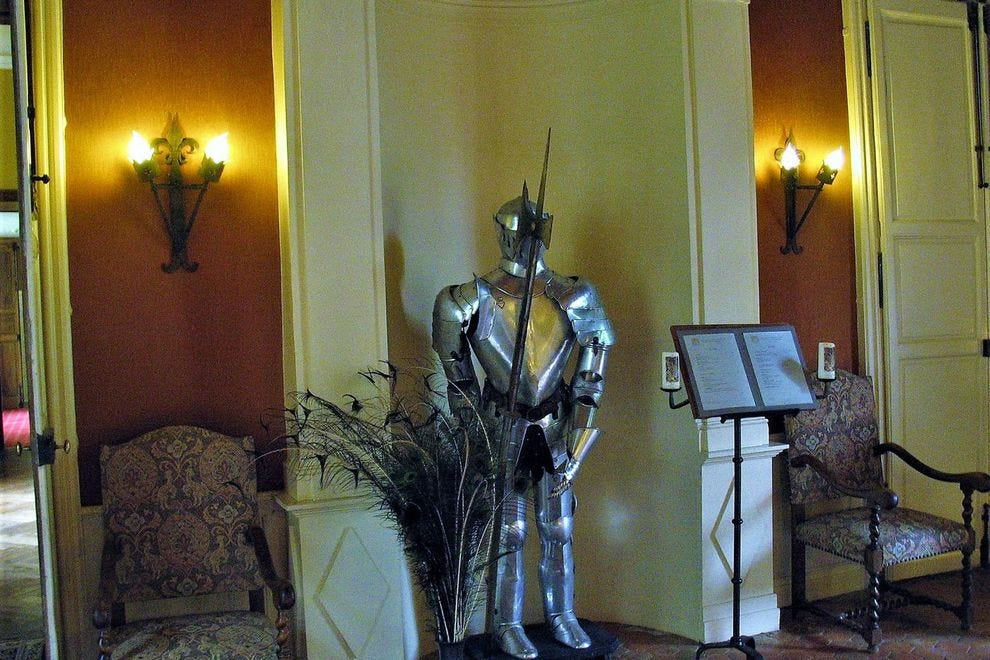 Authentic knight's armor is décor in Château de Vault-de-Lugny