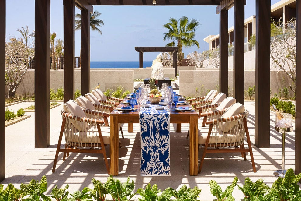 The outdoor pergola for private dinners at Nobu Hotel Los Cabos