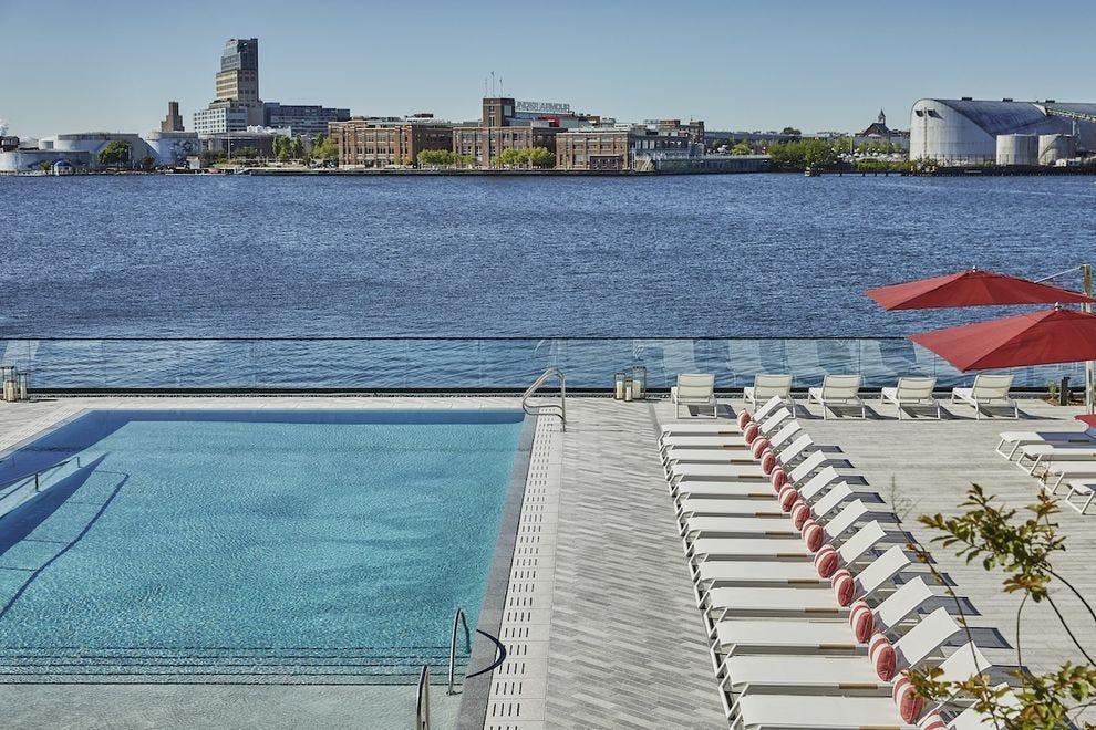 The beautiful pool at Sagamore Pendry Baltimore