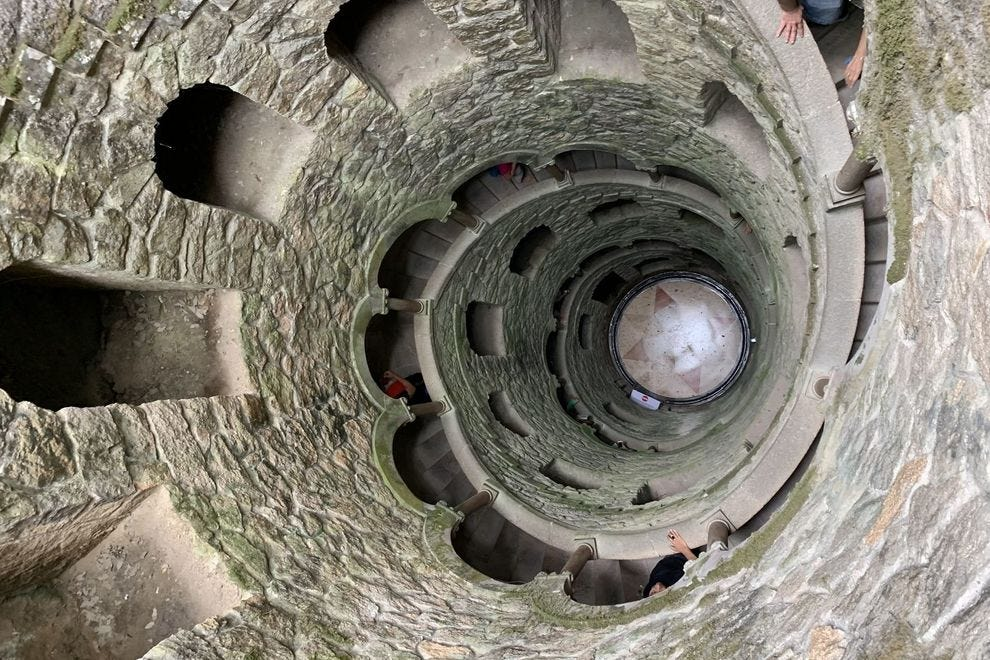"The curious ""initiation well"" at Quinta da Regaleira, a UNESCO World Heritage site in Sintra"