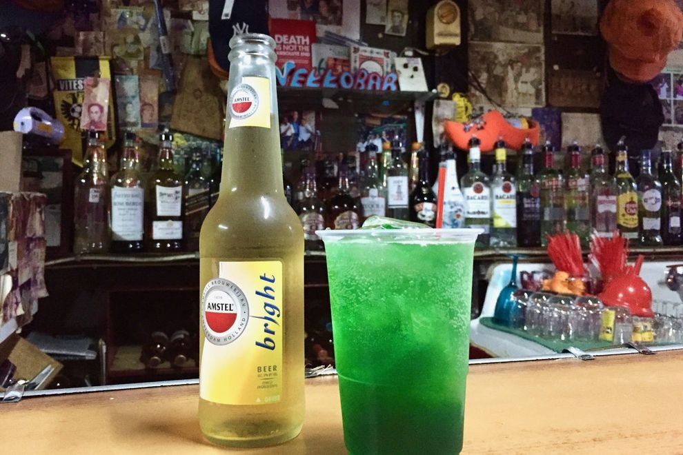 Green rum at Netto Bar in Willemstad's Otrobanda neighborhood