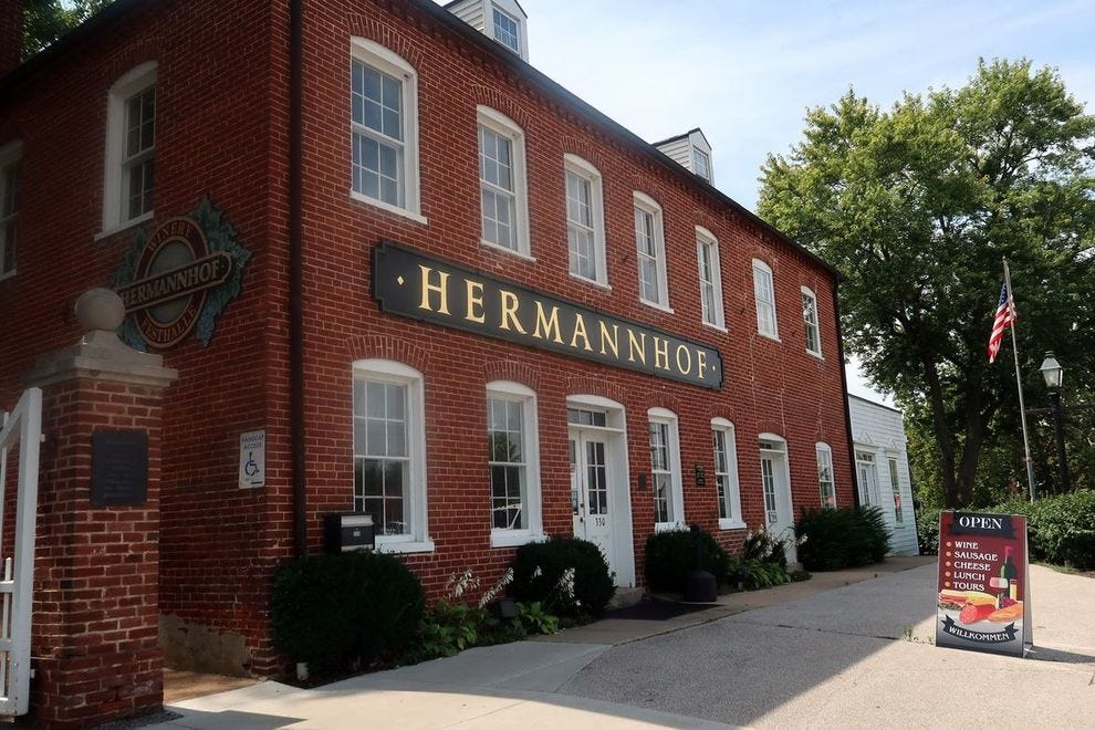 Hermannhof's handsome brick building, built in 1852, has arched cellars in its basement you can see for free