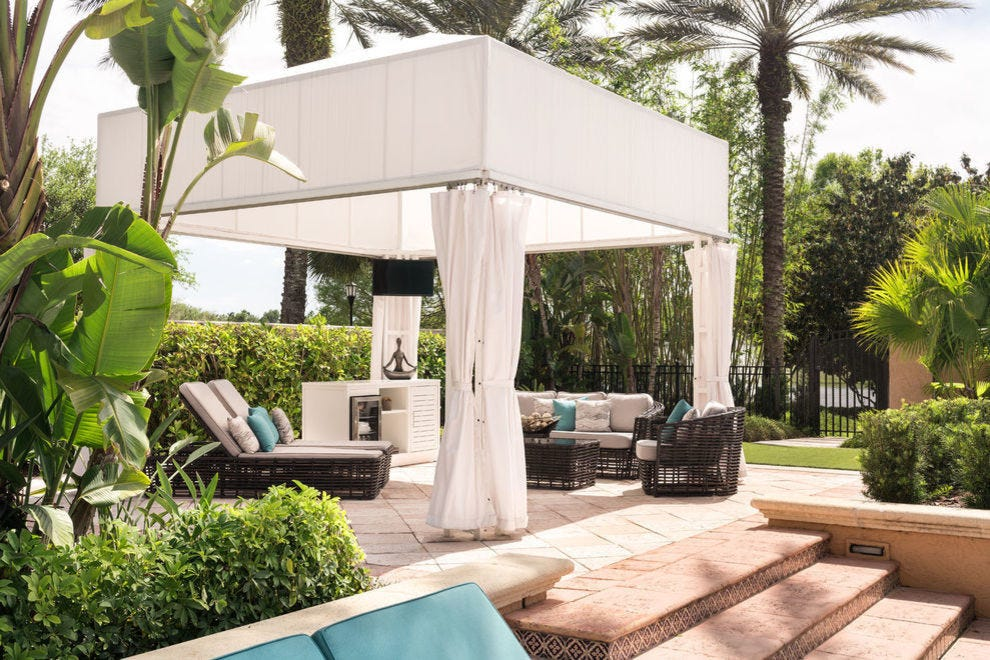 One of the cabanas at the resort's spa pool