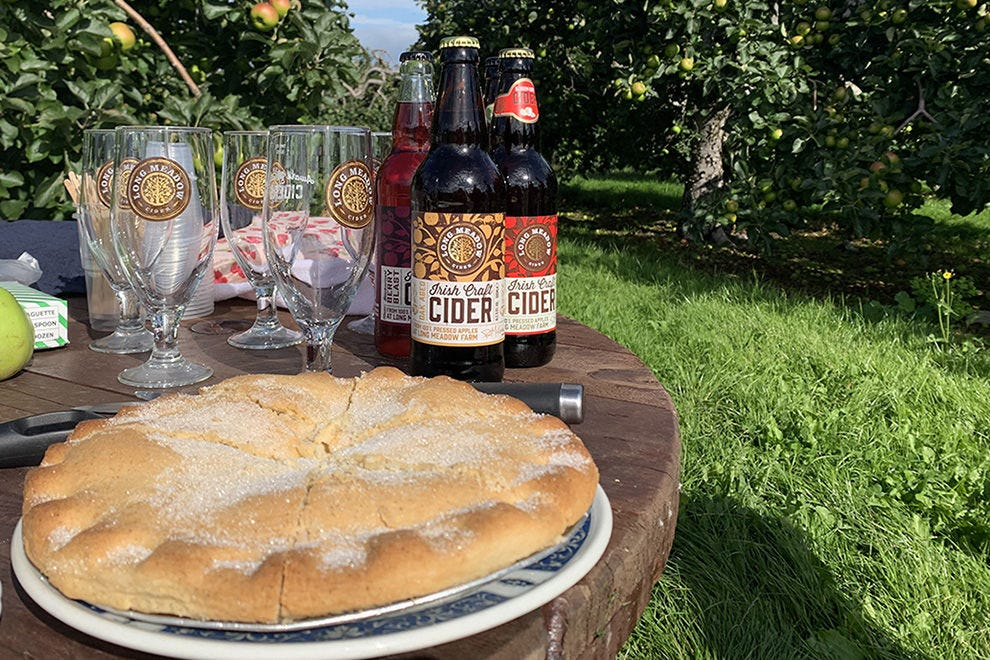 Cider and apple tart on a picnic at Long Meadow Cider's orchard