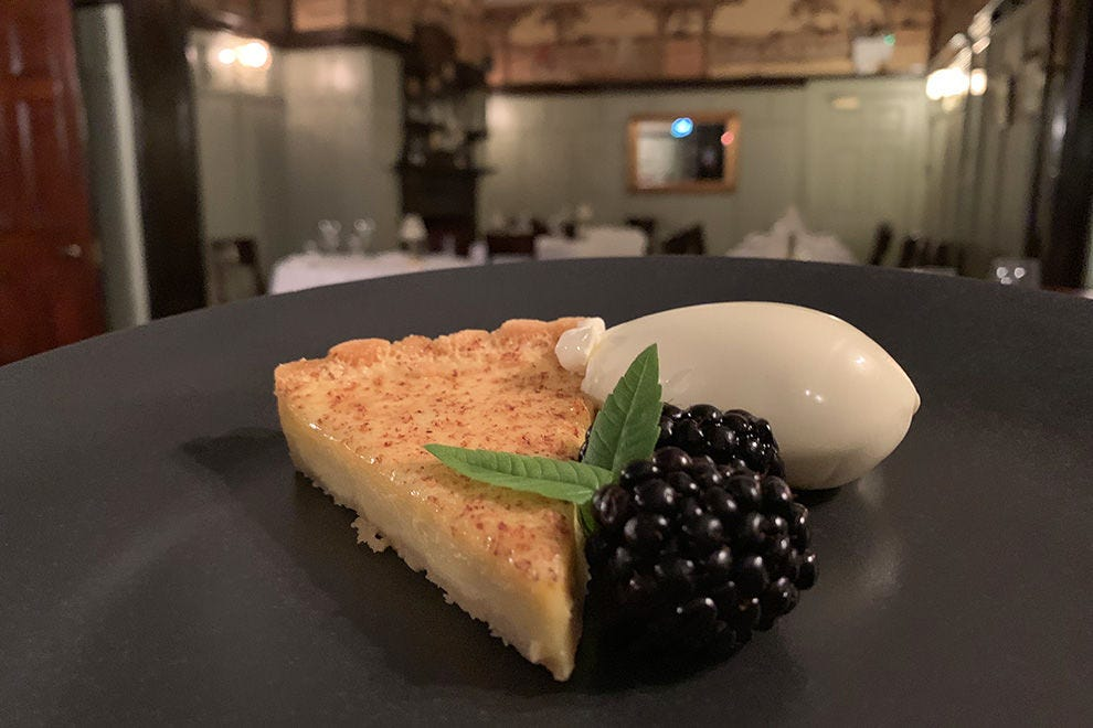 Custard tart with clotted cream and blackberries at Ardtara Country House