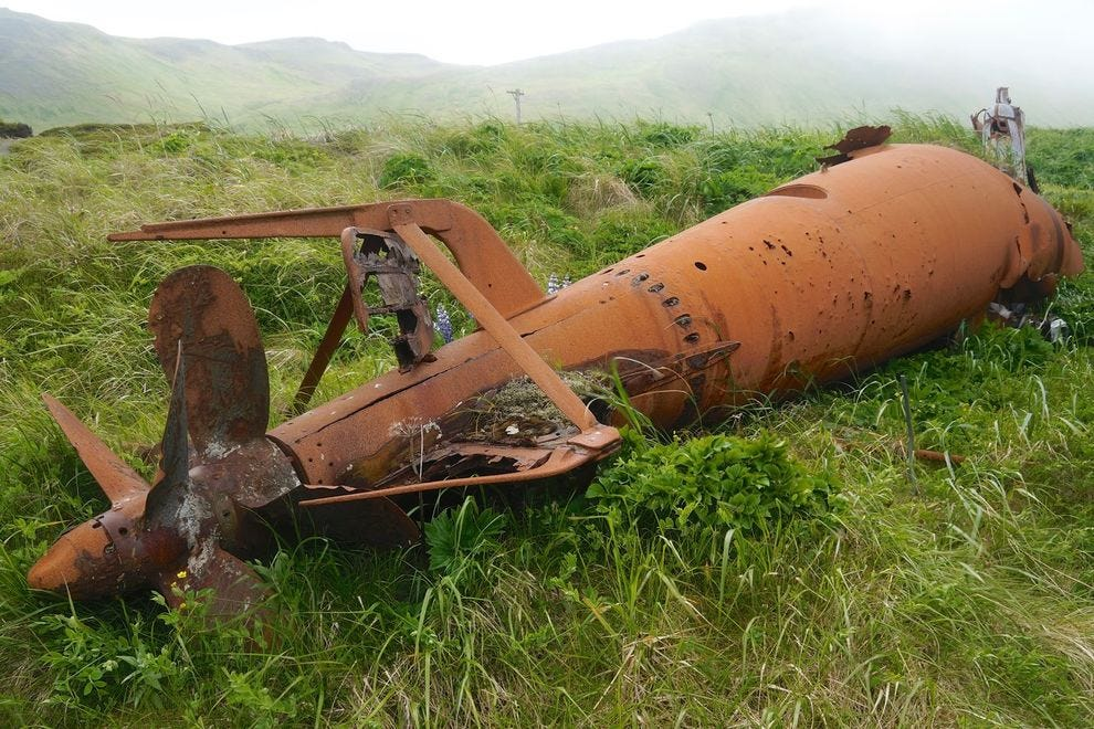 Abandoned World War II submarine on Kiska Island, Aleutian Islands