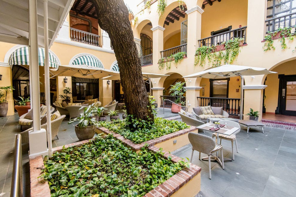 Step back in time at this hotel's courtyard