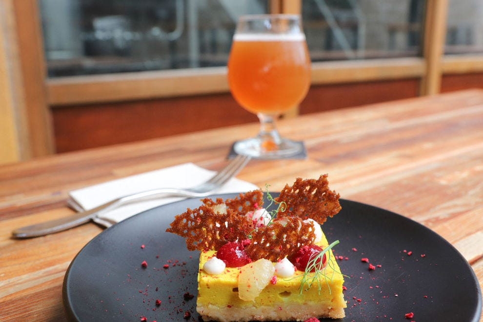 Brewery Vivant beer, served with a vegan lemon bar