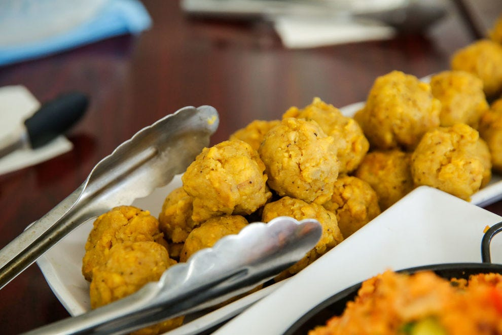 Puerto Rican mofongo (and mofongo balls, pictured here) feature a favorite Puerto Rican food item: plantains