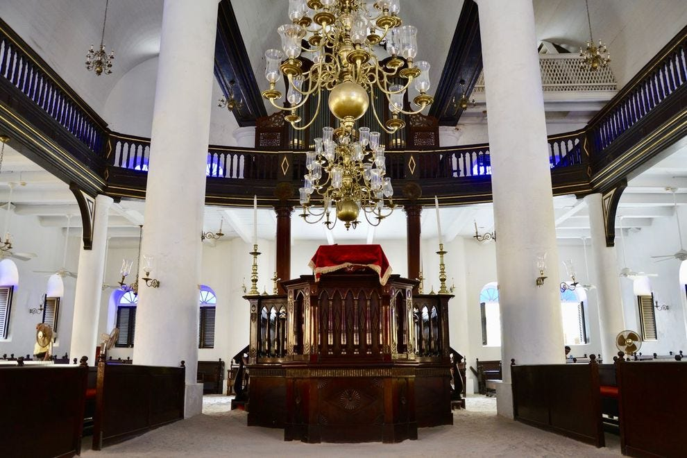 Inside Mikvé Israel-Emanuel, a sand-floor synagogue in Curacao's capital
