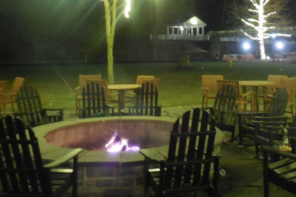 The fire pit at Frontier Tavern in the Omni Bedford Springs Resort is a gathering place for guests