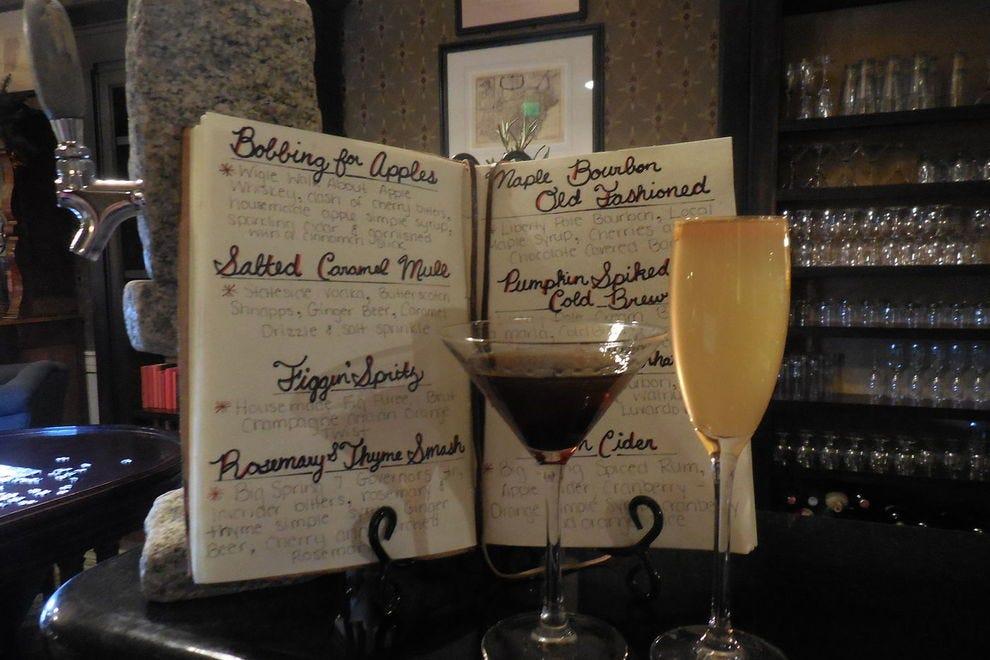 The menu at the library bar at the Omni Bedford Springs Resort