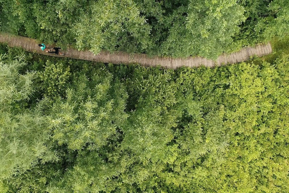 Aerial view of the Ice Age Hiking Trail in Elkhart Lake