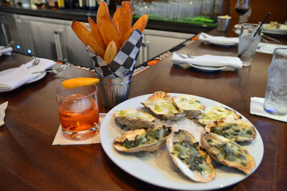 Oysters and pommes soufflés at Dock's Oyster House