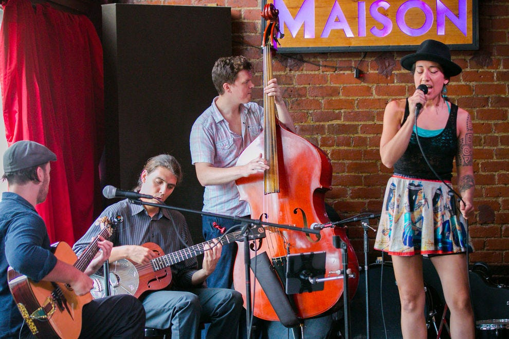 Whether you stop by for evening cocktails or Sunday brunch, the jazz at The Maison doesn't disappoint
