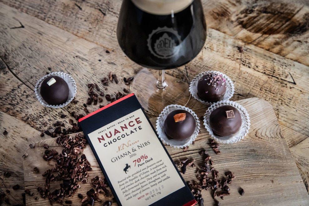 Odell Brewing Hot Fudge Sundae with Nuance Chocolate truffles and bar
