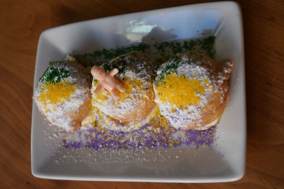 SoBou, known for its cocktail program, also offers king cake beignets