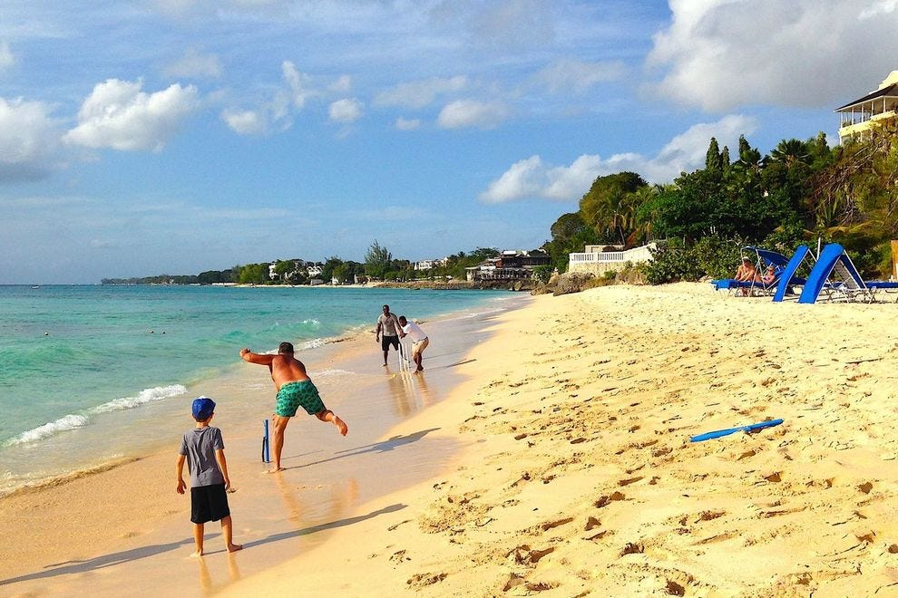 Cricket on the beach at Crystal Cove in Barbados