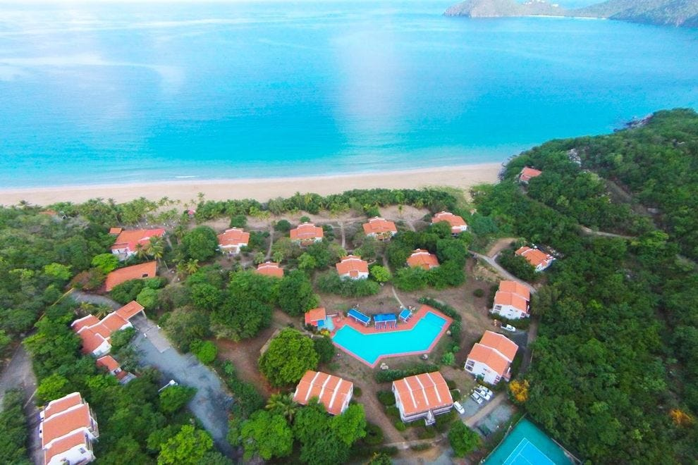 Guest rooms at the Wyndham Lambert Beach Resort on Tortola are spread out among several small buildings