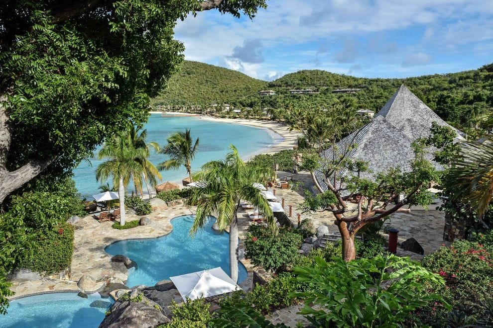 Elevated view of Rosewood Little Dix Bay