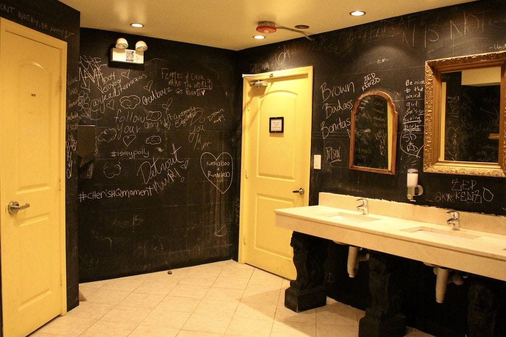 Express yourself on the chalkboard walls of the Thalia Hall restrooms