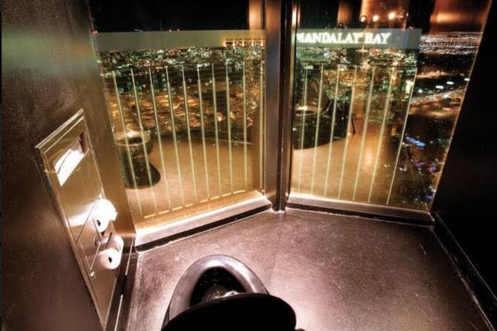 The ladies room at Skyfall Lounge at Delano Las Vegas offers amazing views of the Strip