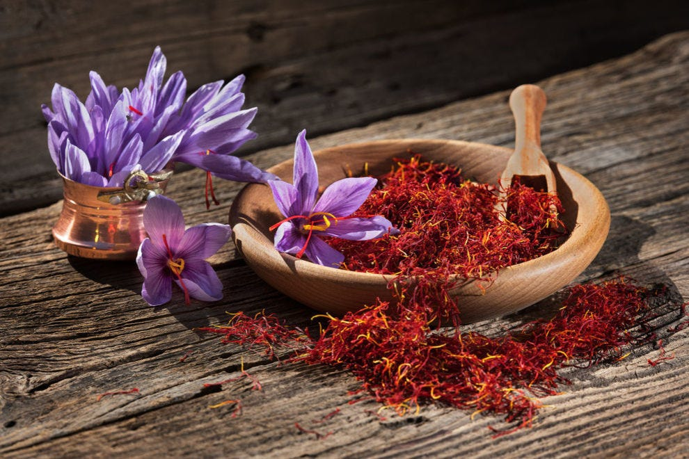 Saffron blooms into a beautiful purple flower, but the red strands are what attract most people