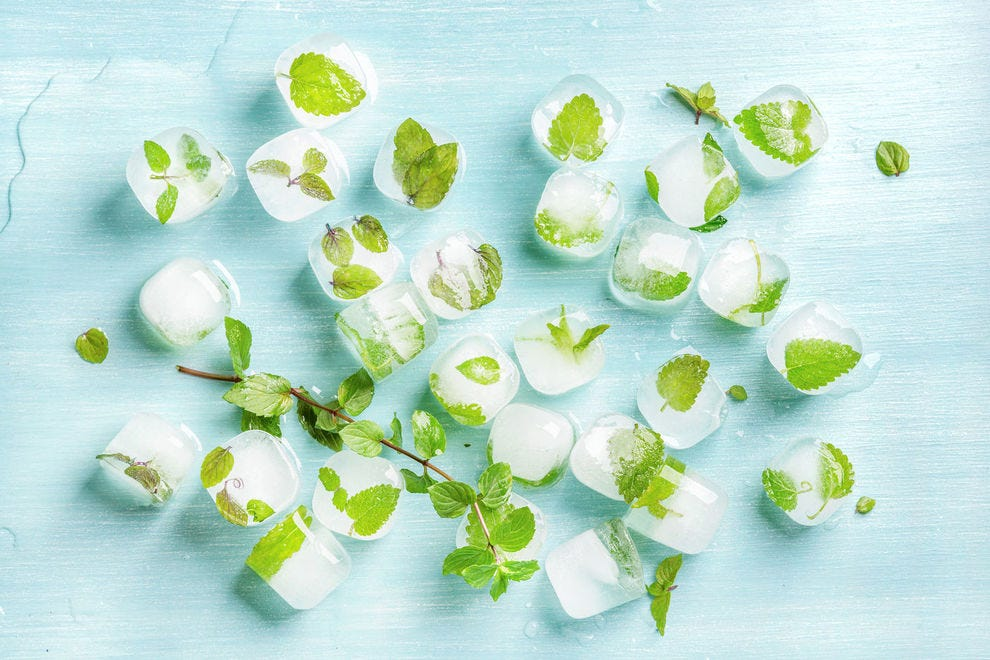 Cool and functional, ice is a pretty way to preserve your herbs