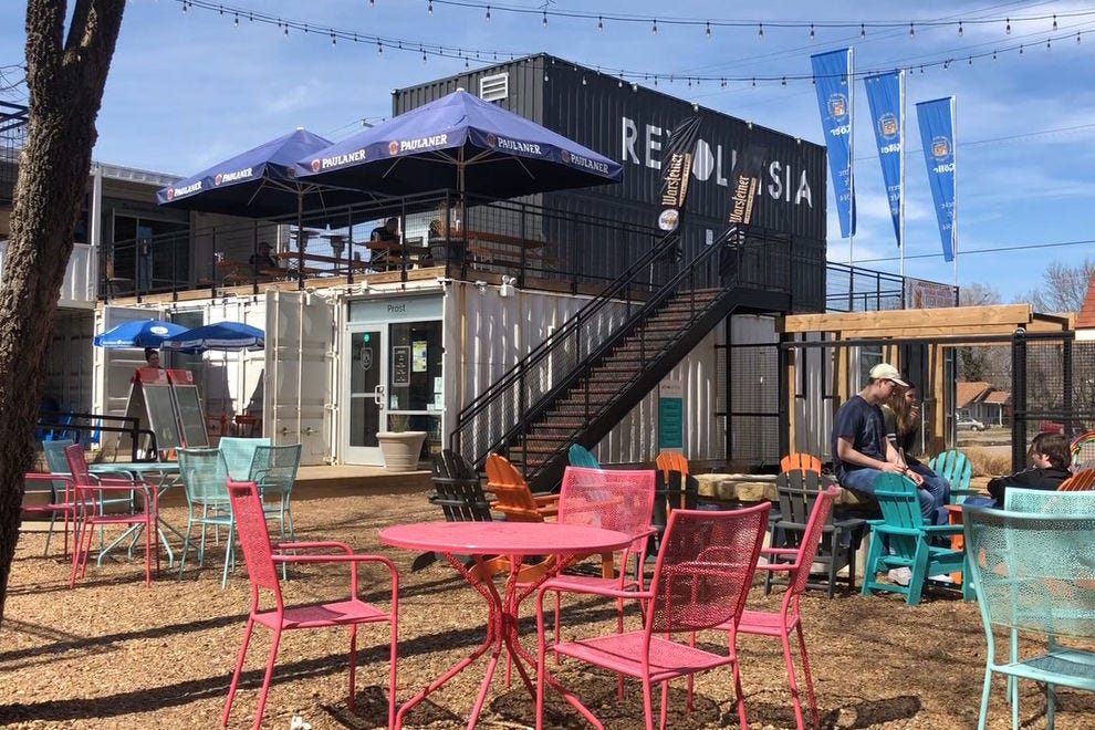 The Revolustia area of Wichita is a complex made of shipping containers which house popular shops and eateries