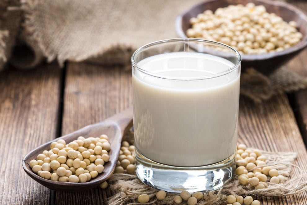 Soy milk and the soy beans it's made from