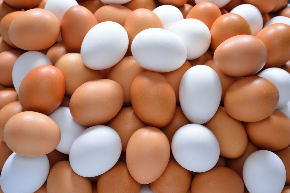 Mix of brown and white eggs