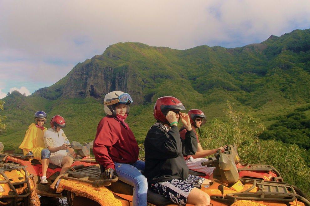 Riding an ATV through Kauai