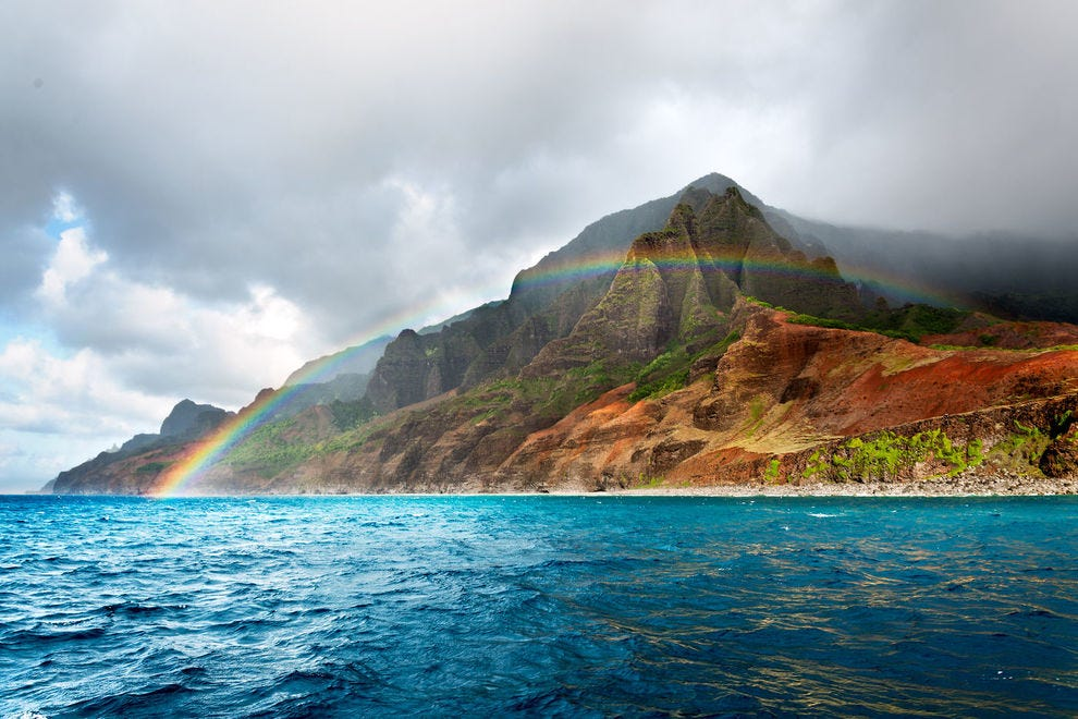 Rainbow over Napali coast